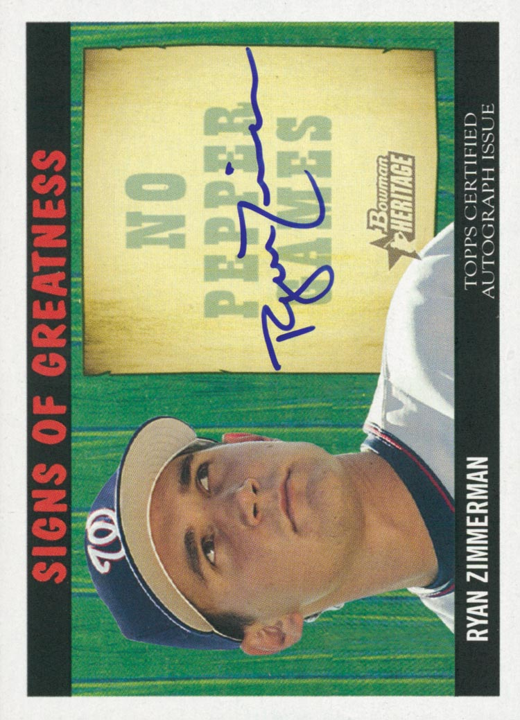 2005 Bowman Heritage Signs of Greatness #RZ Ryan Zimmerman B
