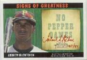 2005 Bowman Heritage Signs of Greatness Red Ink #AM Andrew McCutchen