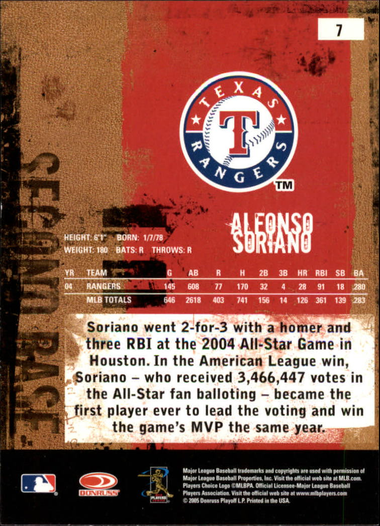 2005 Leather and Lumber #7 Alfonso Soriano back image