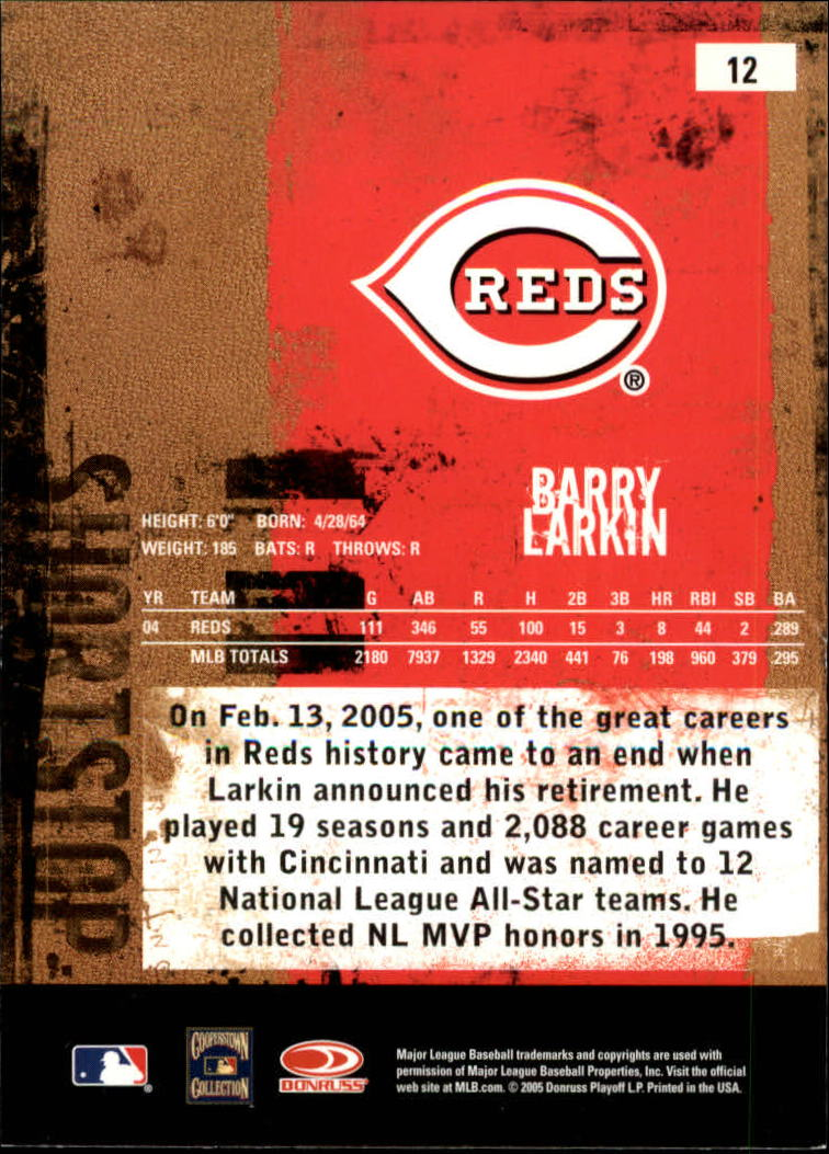 2005 Leather and Lumber #12 Barry Larkin back image