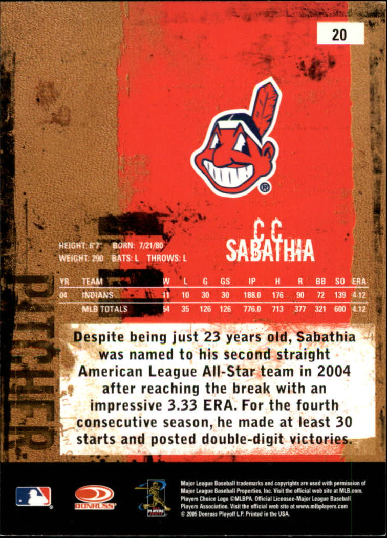 2005 Leather and Lumber #20 C.C. Sabathia back image