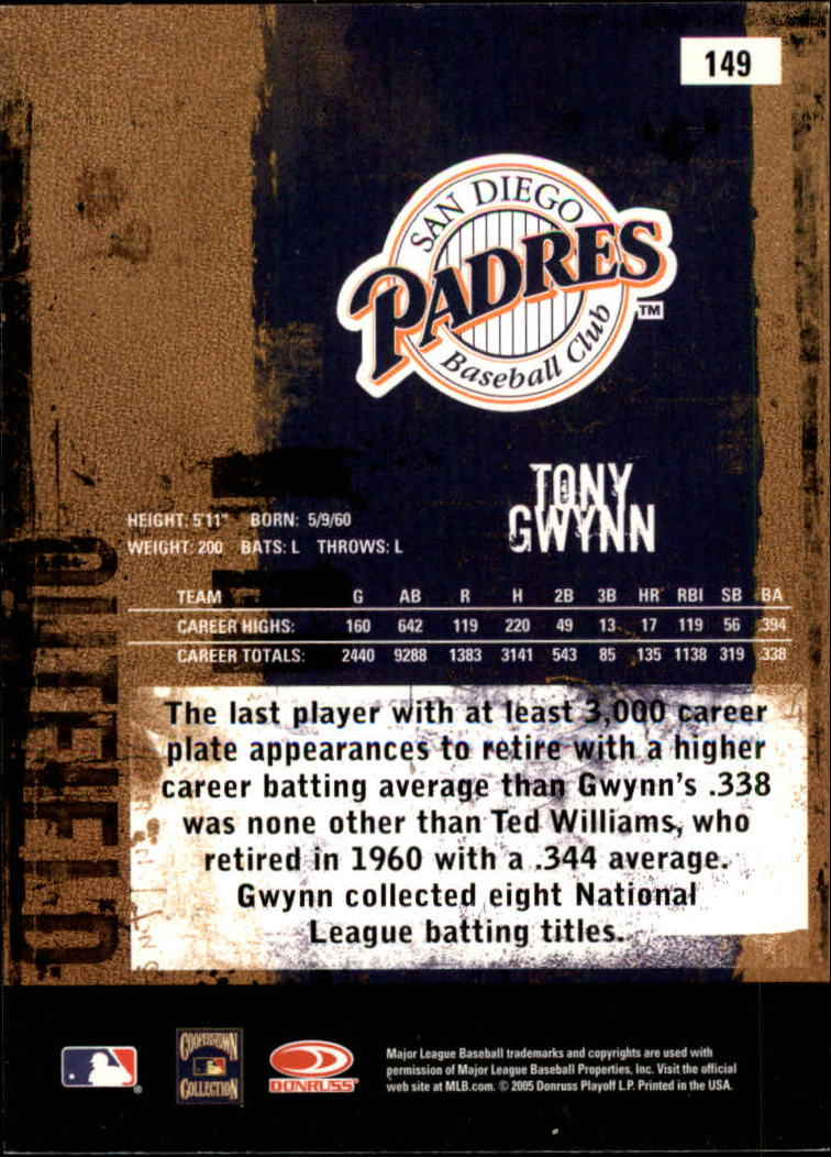 2005 Leather and Lumber #149 Tony Gwynn RET back image