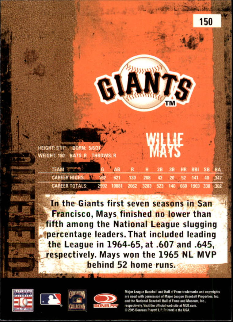 2005 Leather and Lumber #150 Willie Mays RET back image