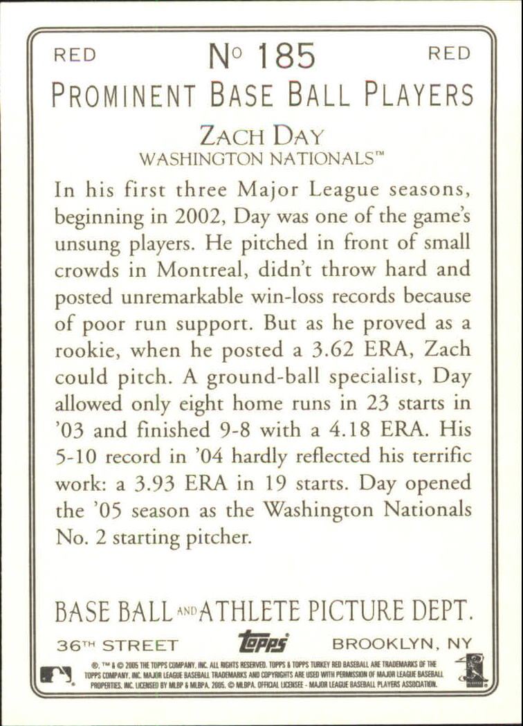 2005 Topps Turkey Red Red #185 Zach Day