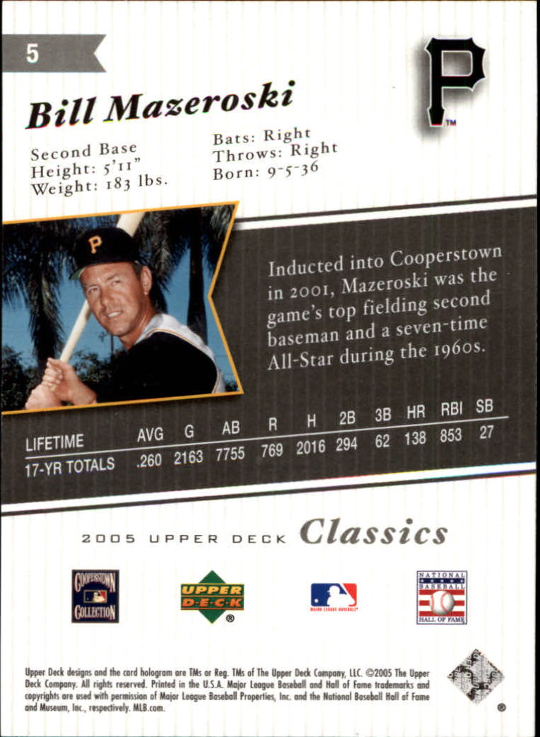2005 Upper Deck Classics #5 Bill Mazeroski