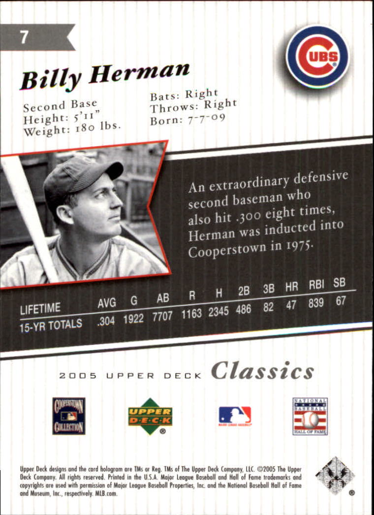 2005 Upper Deck Classics #7 Billy Herman