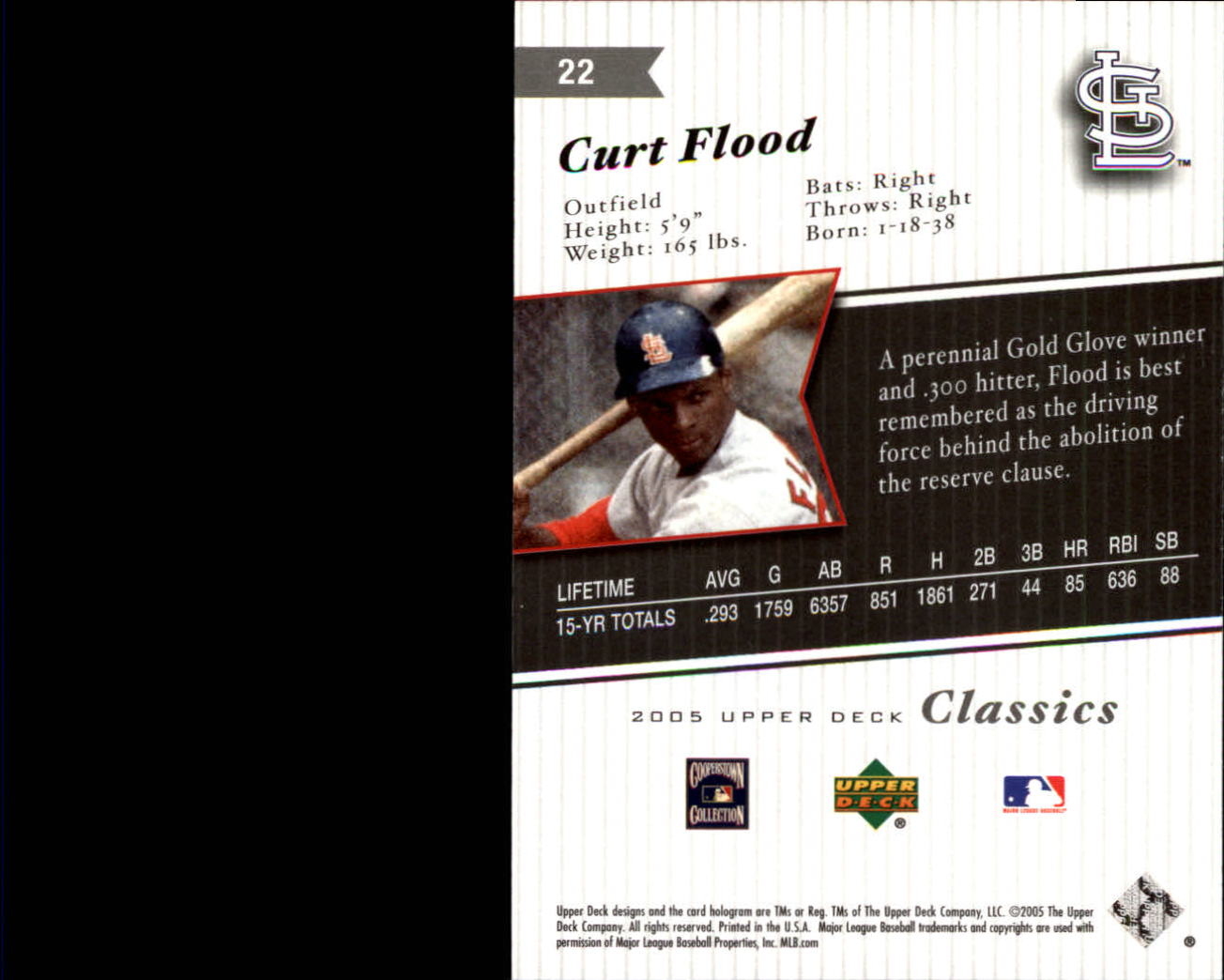 2005 Upper Deck Classics #22 Curt Flood back image