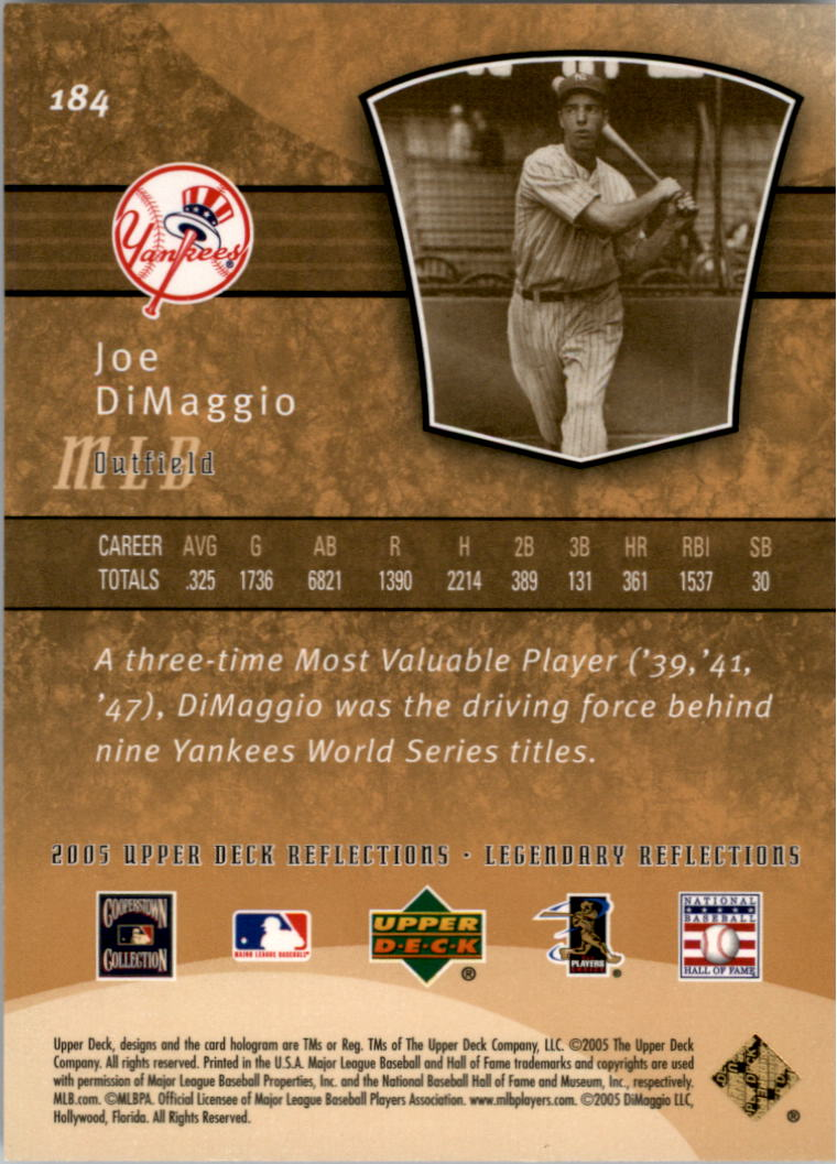 2005 Reflections #184 Joe DiMaggio LGD back image