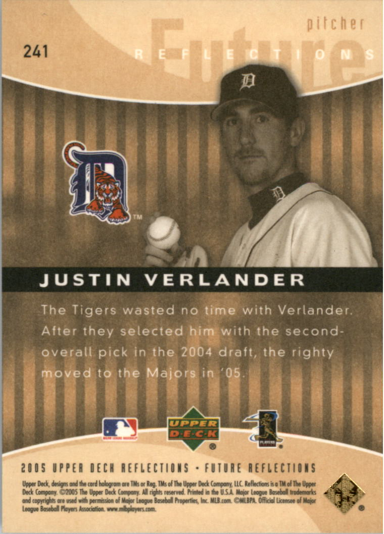 2005 Reflections #241 Justin Verlander FR RC back image