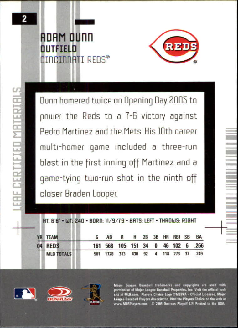 2005 Leaf Certified Materials #2 Adam Dunn back image