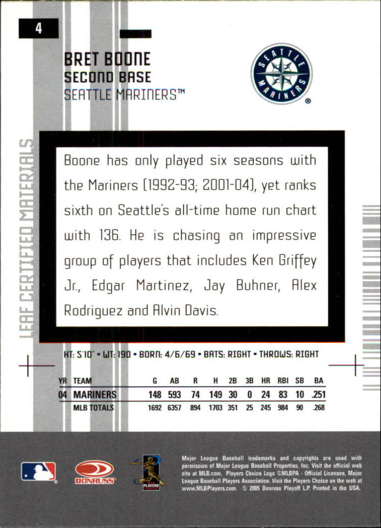 2005 Leaf Certified Materials #4 Bret Boone back image