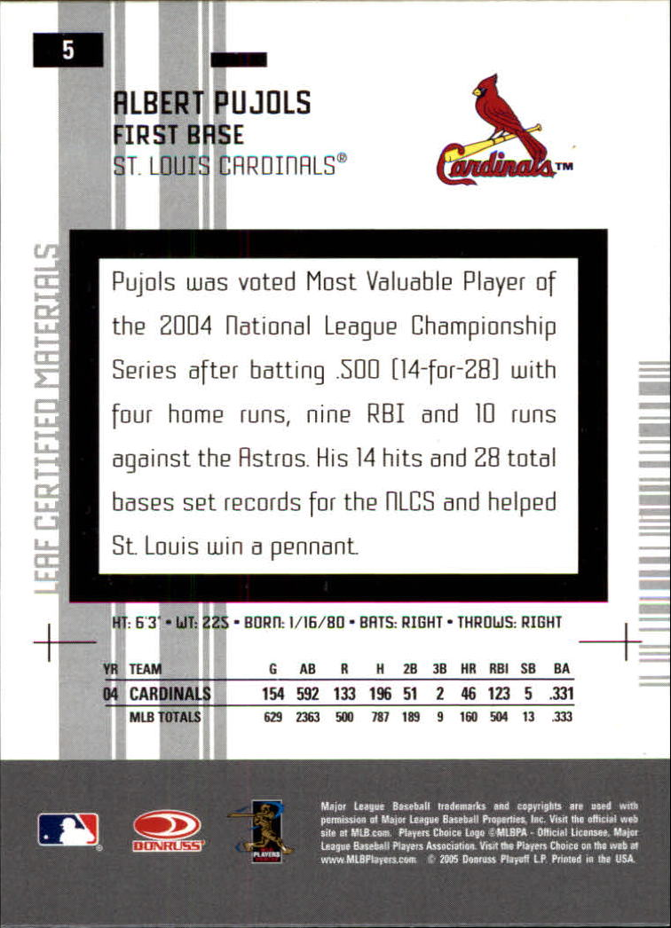 2005 Leaf Certified Materials #5 Albert Pujols back image