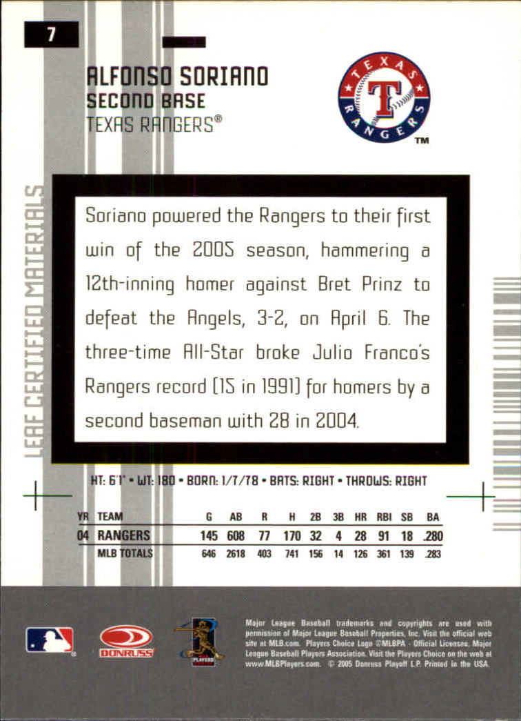 2005 Leaf Certified Materials #7 Alfonso Soriano back image
