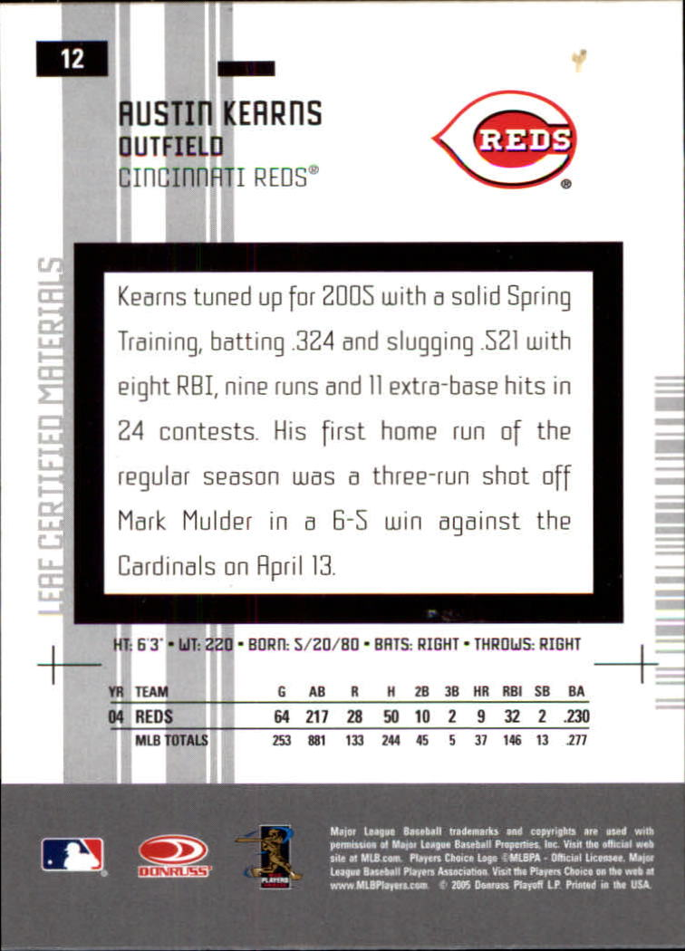 2005 Leaf Certified Materials #12 Austin Kearns back image