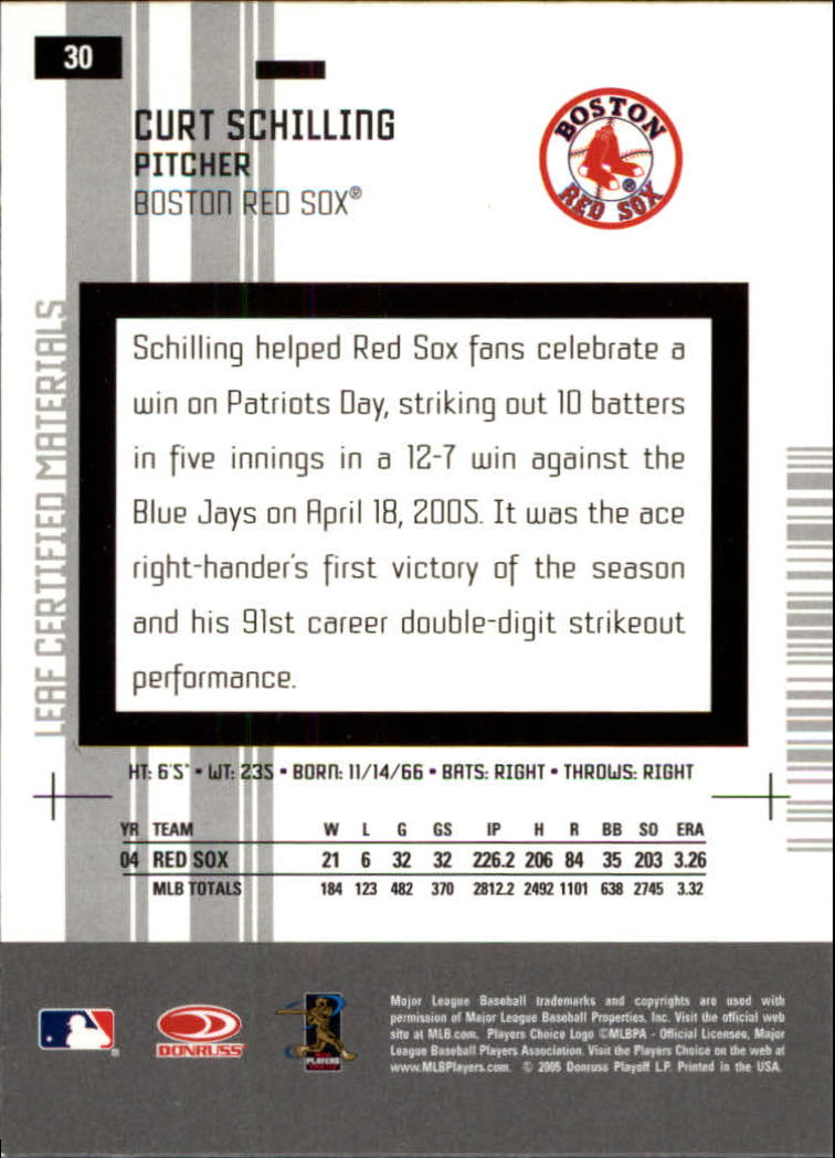 2005 Leaf Certified Materials #30 Curt Schilling Sox back image