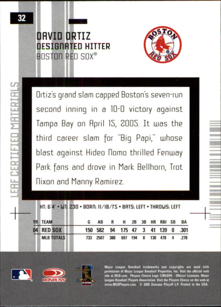 2005 Leaf Certified Materials #32 David Ortiz Sox back image