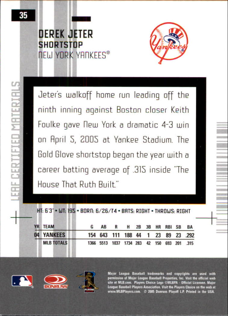 2005 Leaf Certified Materials #35 Derek Jeter back image