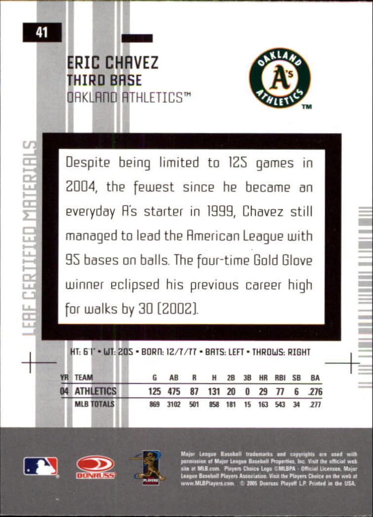 2005 Leaf Certified Materials #41 Eric Chavez back image