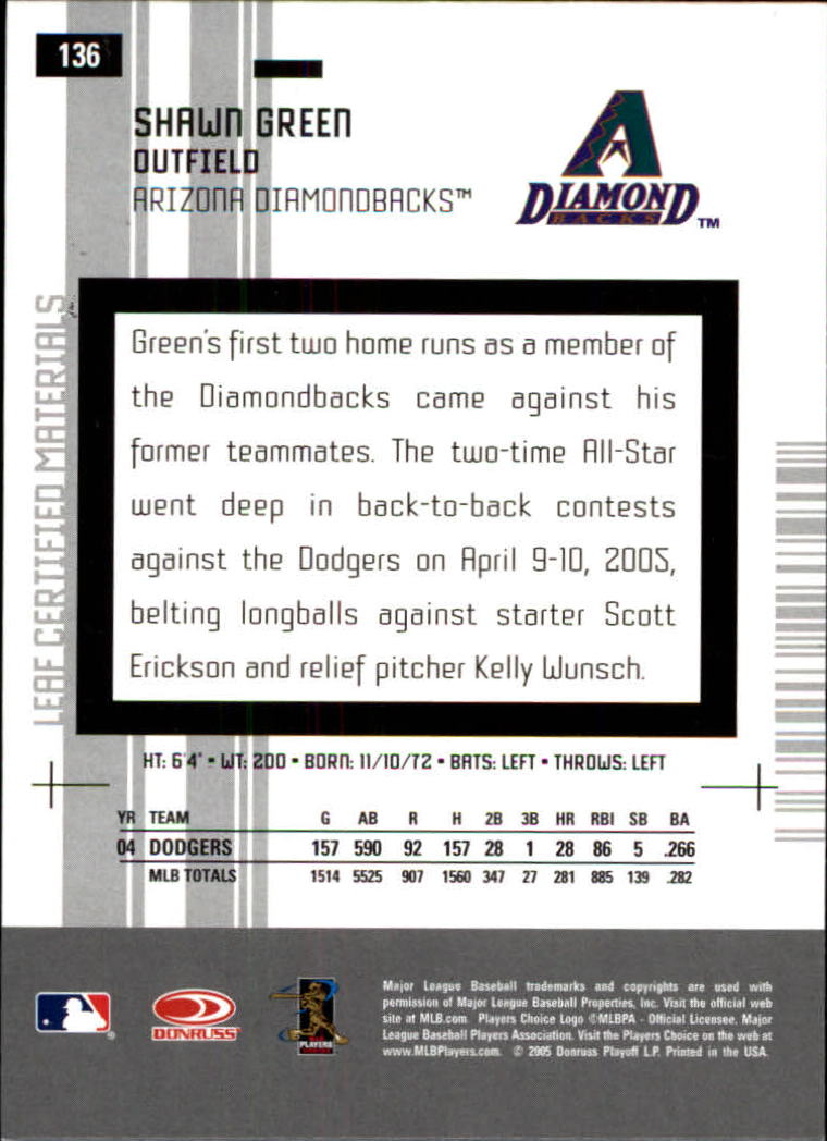2005 Leaf Certified Materials #136 Shawn Green D'backs back image