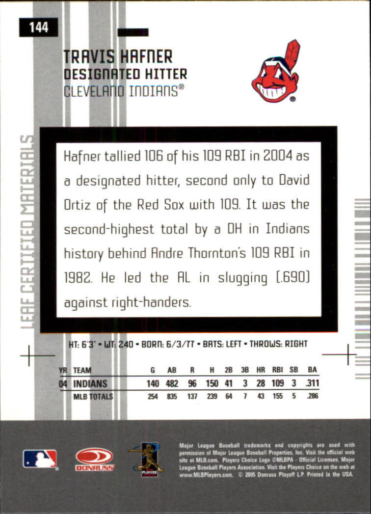 2005 Leaf Certified Materials #144 Travis Hafner back image