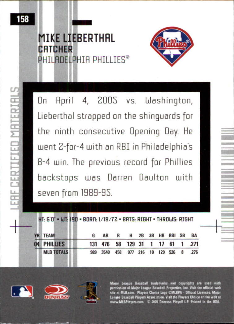 2005 Leaf Certified Materials #158 Mike Lieberthal back image