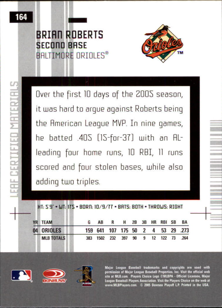 2005 Leaf Certified Materials #164 Brian Roberts back image