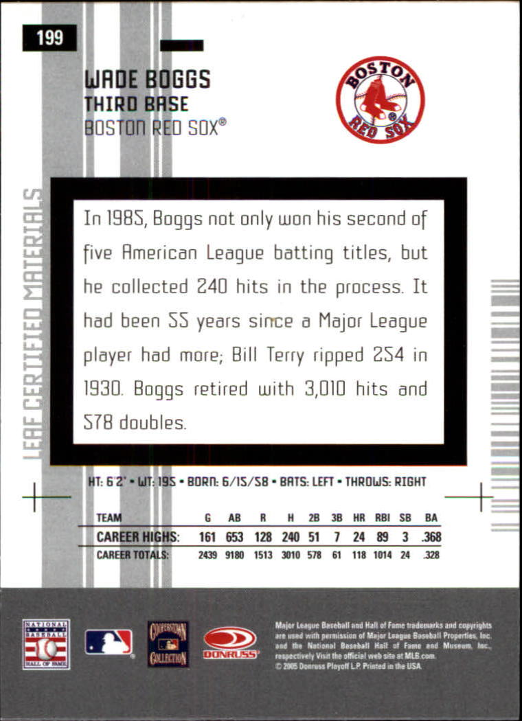 2005 Leaf Certified Materials #199 Wade Boggs LGD back image