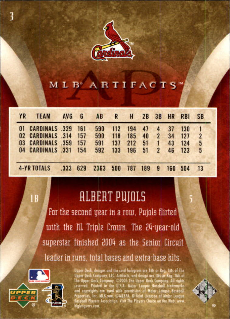 2005 Artifacts #3 Albert Pujols back image