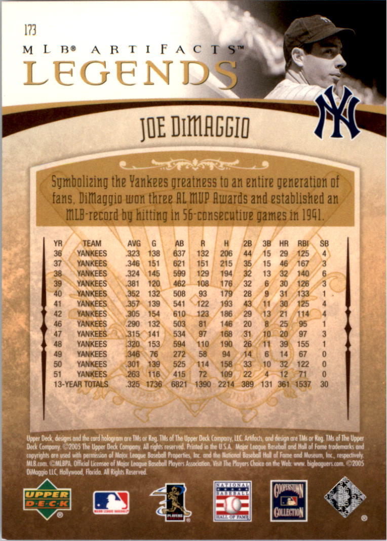 2005 Artifacts #173 Joe DiMaggio LGD back image