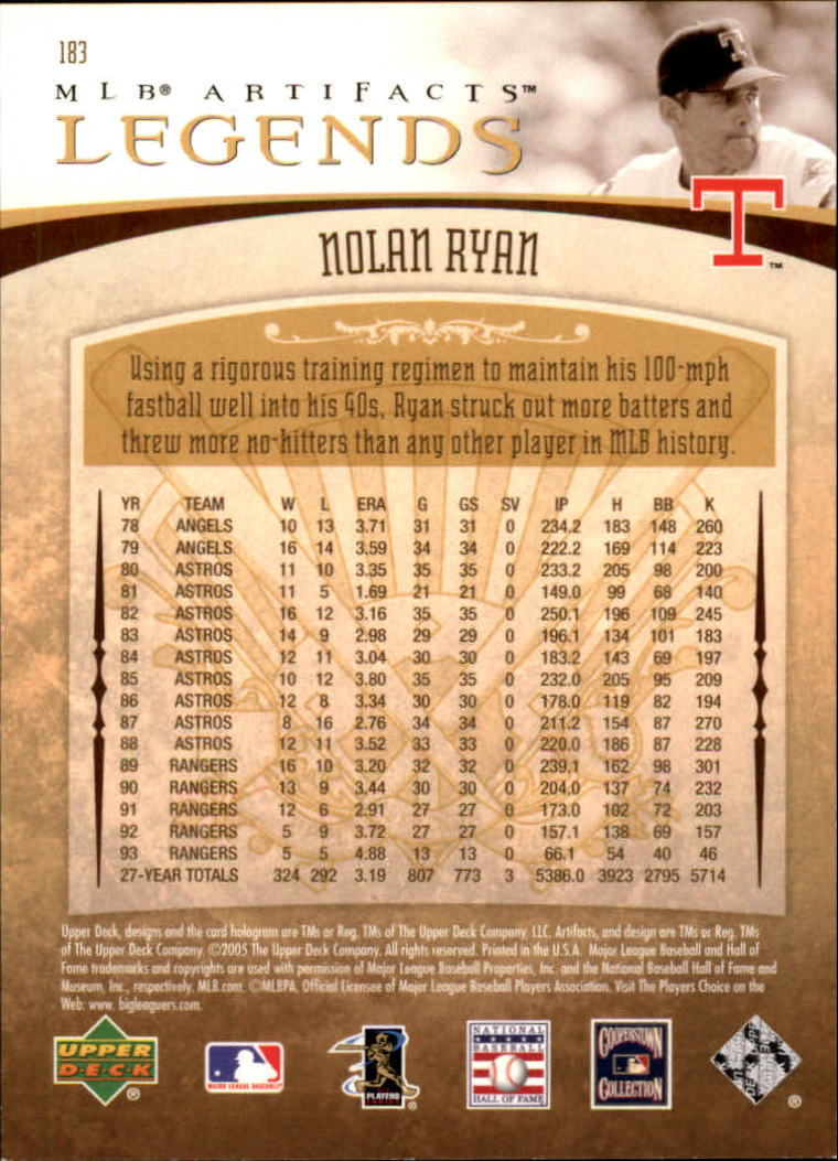 2005 Artifacts #183 Nolan Ryan LGD back image