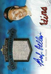 2005 Upper Deck Hall of Fame Class of Cooperstown Autograph-Material Gold #BF2 Bob Feller Portrait Pants