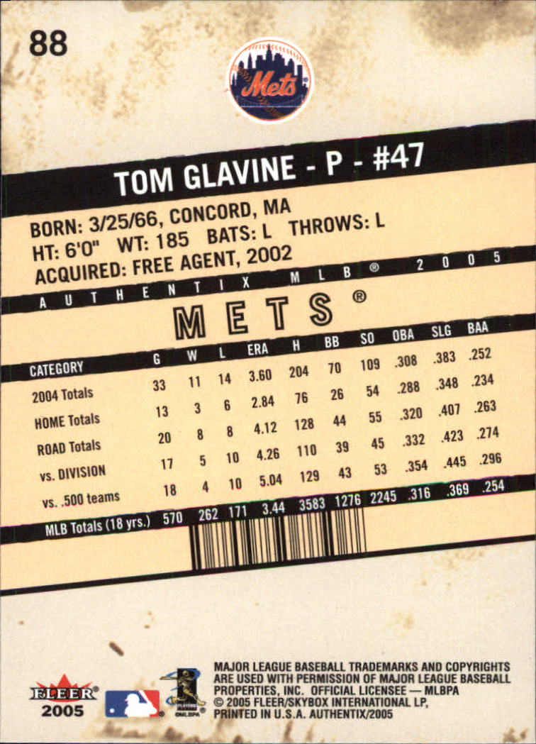 2005 Fleer Authentix #88 Tom Glavine back image