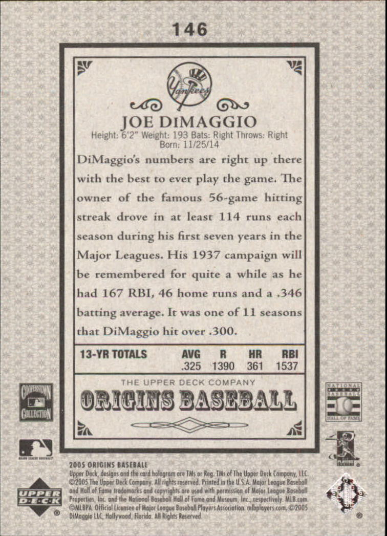 2005 Origins Old Judge #146 Joe DiMaggio RET back image