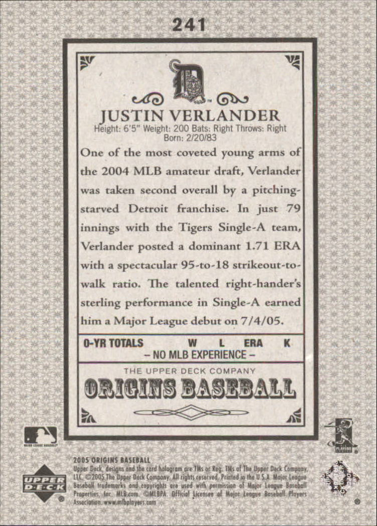 2005 Origins Old Judge #241 Justin Verlander YS RC back image