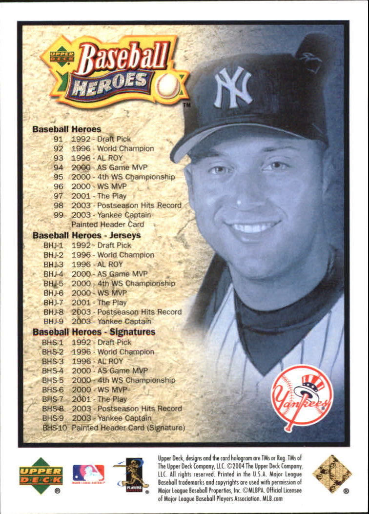 2005 Upper Deck Baseball Heroes Jeter #NNO Cover Card