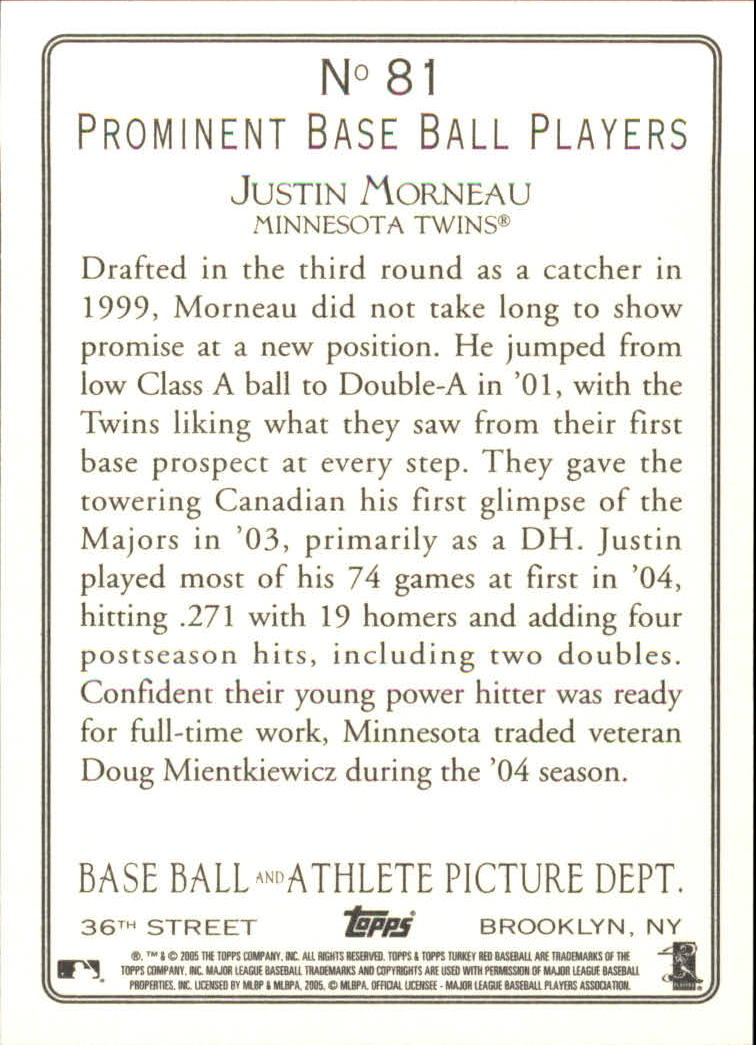2005 Topps Turkey Red #81 Justin Morneau back image