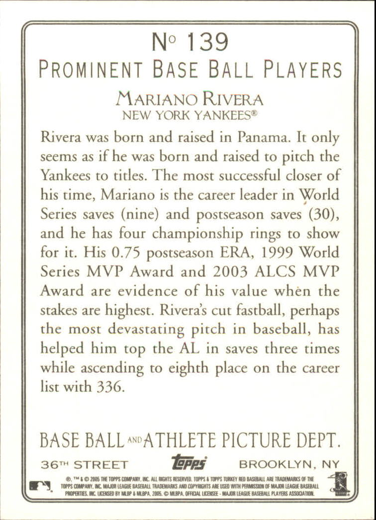 2005 Topps Turkey Red #139 Mariano Rivera back image