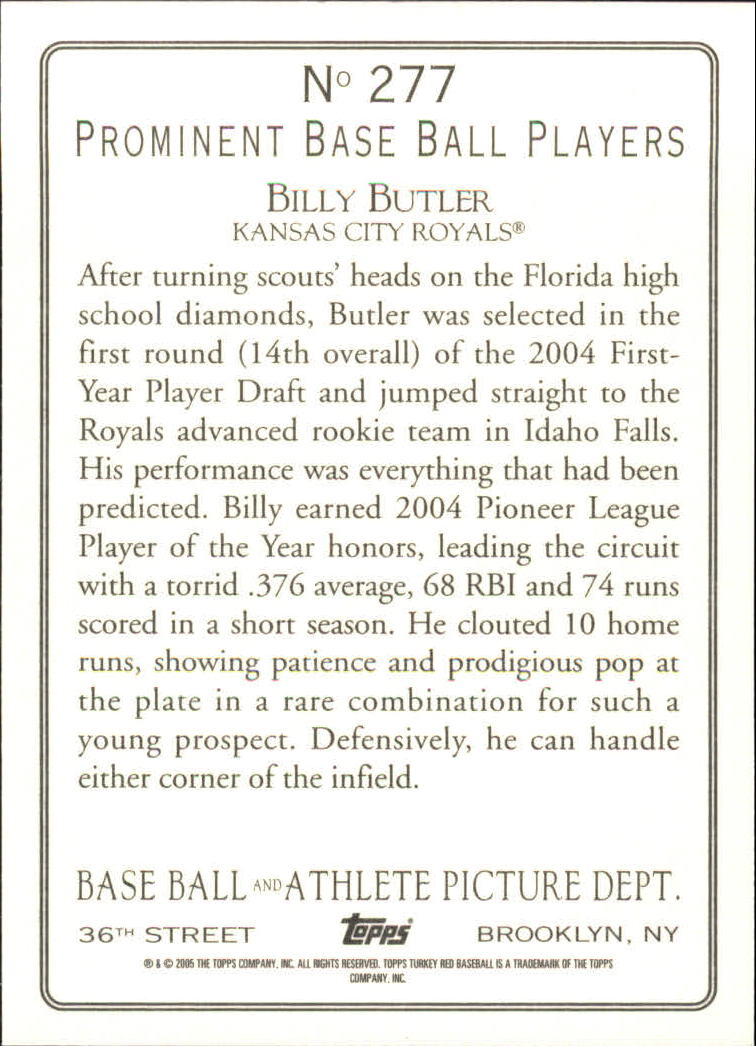 2005 Topps Turkey Red #277 Billy Butler RC back image