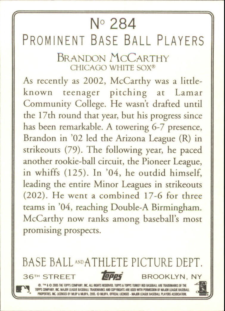 2005 Topps Turkey Red #284 Brandon McCarthy RC back image