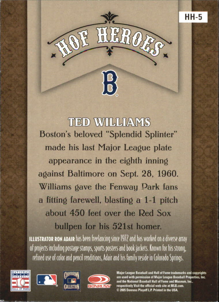 2005 Diamond Kings HOF Heroes #5 Ted Williams back image