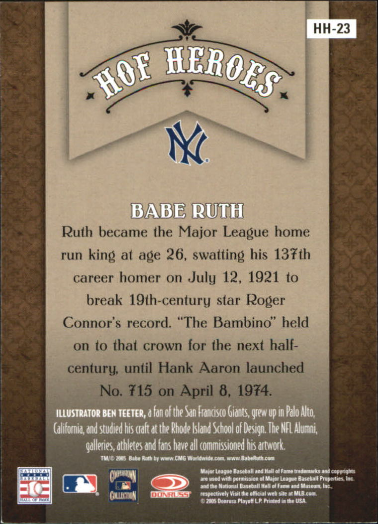 2005 Diamond Kings HOF Heroes #23 Babe Ruth back image