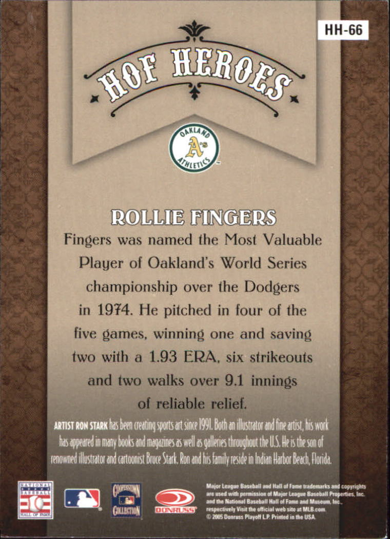 2005 Diamond Kings HOF Heroes #66 Rollie Fingers back image