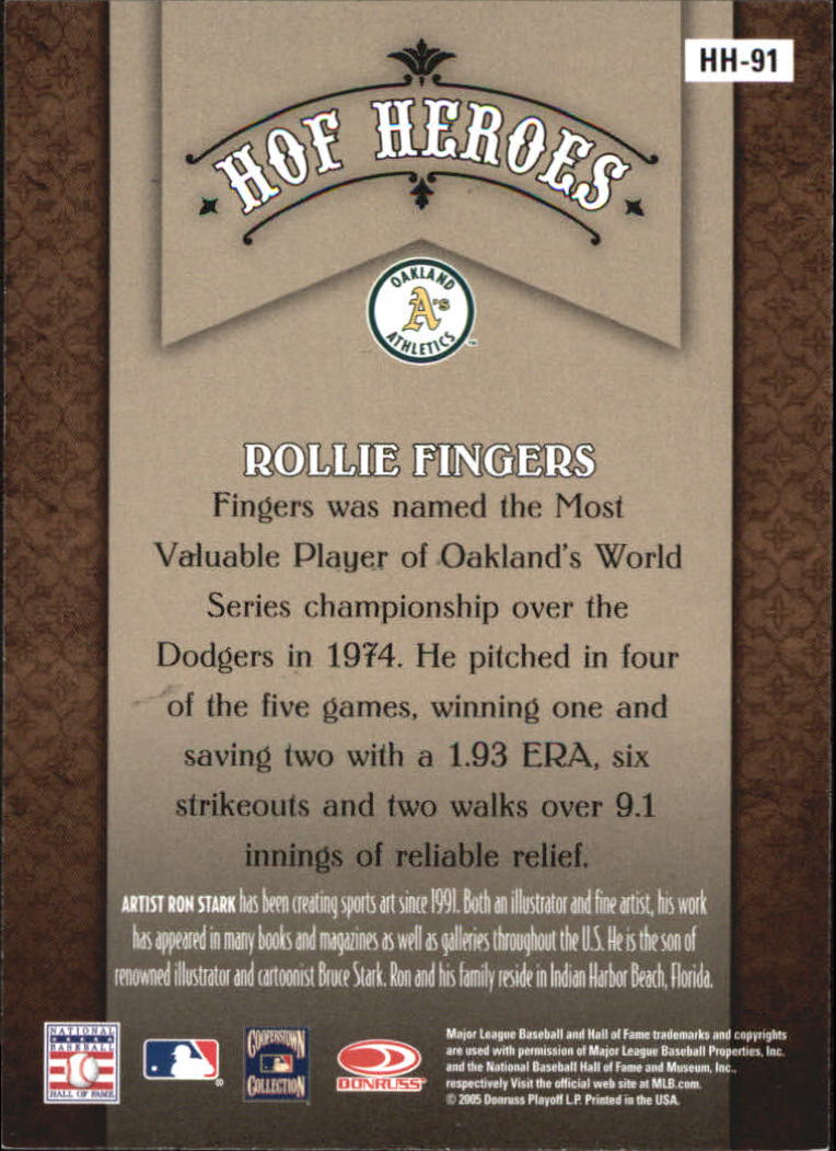 2005 Diamond Kings HOF Heroes #91 Rollie Fingers back image