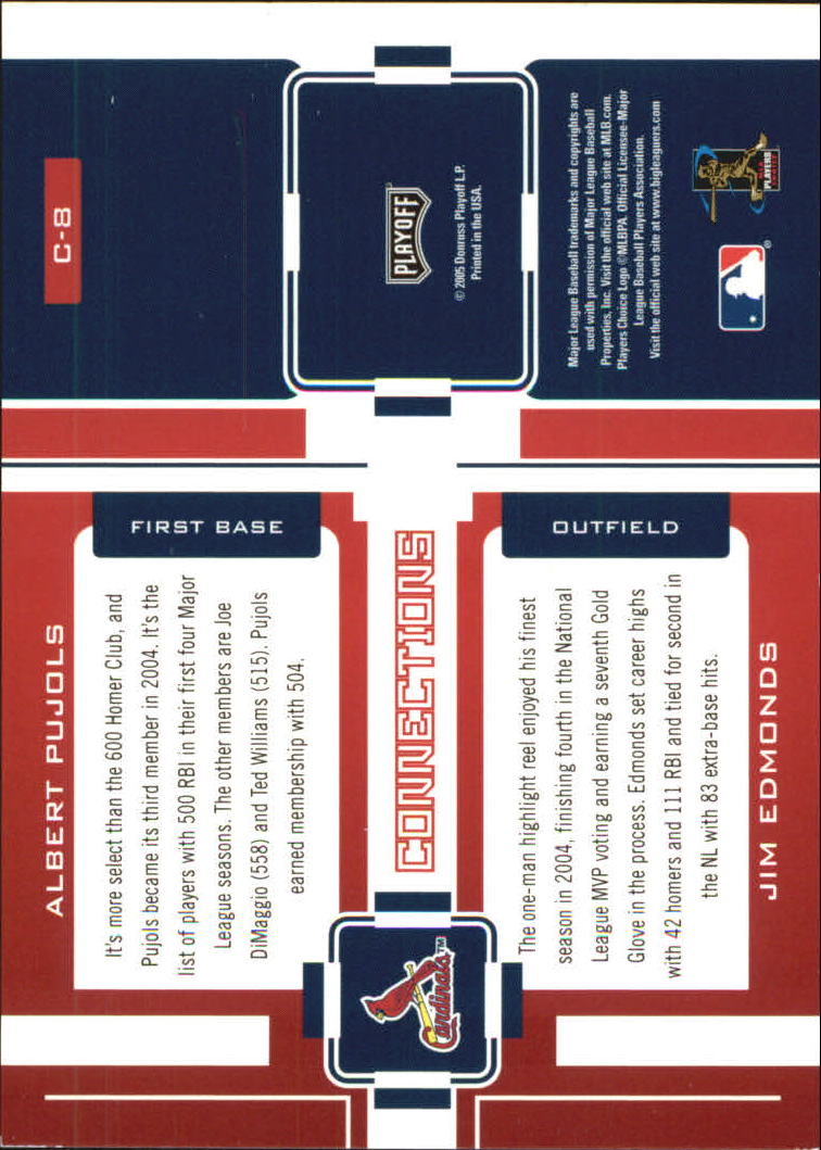2005 Playoff Prestige Connections #8 A.Pujols/J.Edmonds back image