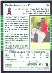 2005 Bowman Chrome #154 Ervin Santana back image