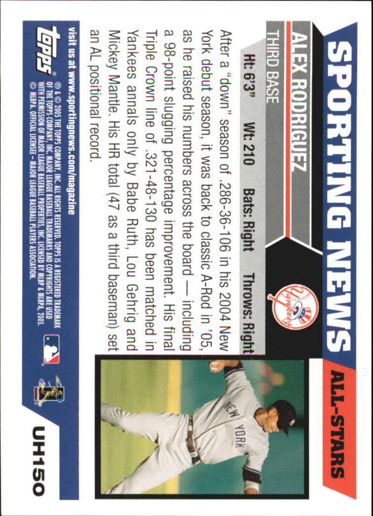 2005 Topps Update #150 Alex Rodriguez AS back image