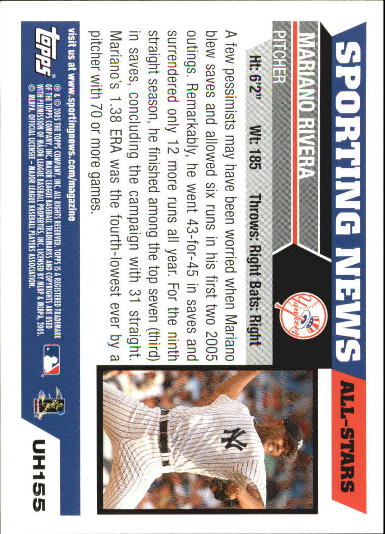 2005 Topps Update #155 Mariano Rivera AS back image