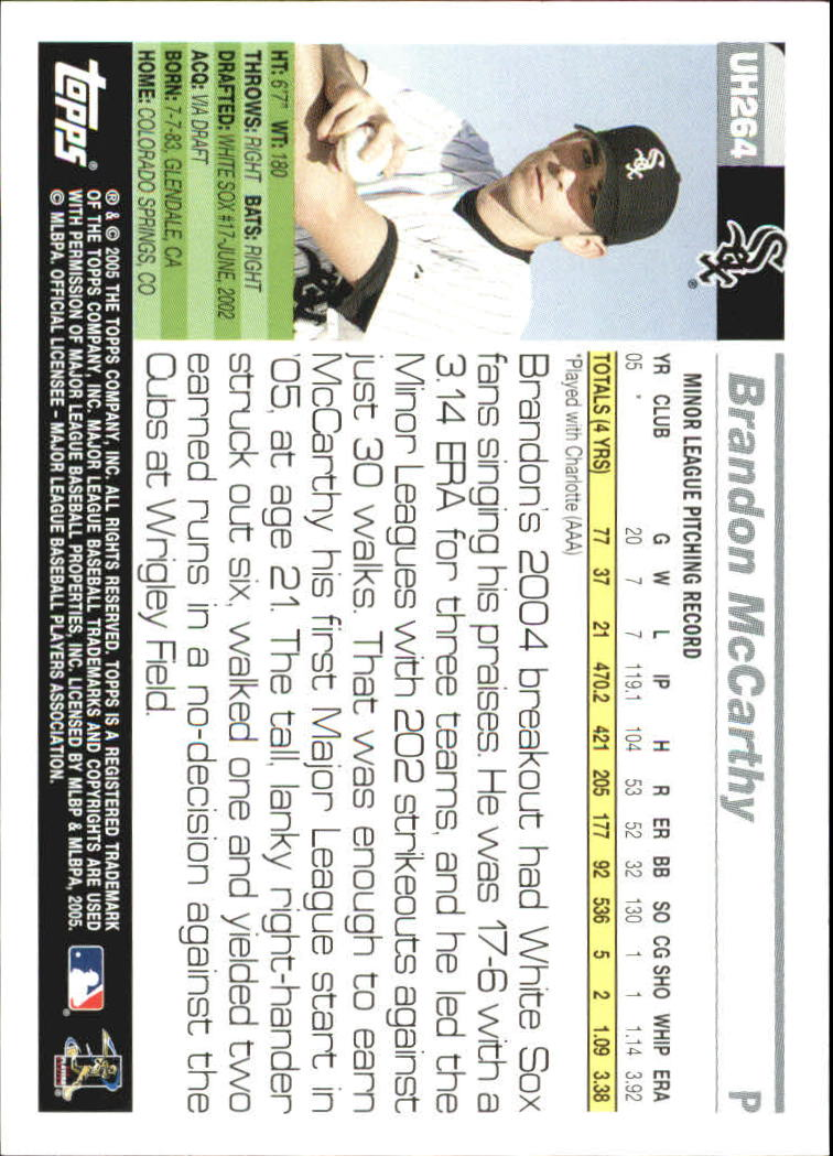 2005 Topps Update #264 Brandon McCarthy FY RC back image