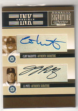 2005 Donruss Signature INKcredible Combos #34 Clint Nageotte/J.J. Putz T4