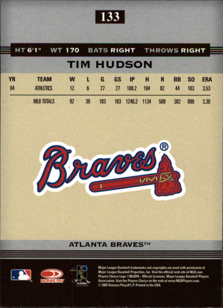 2005 Donruss Greats #133 Tim Hudson back image